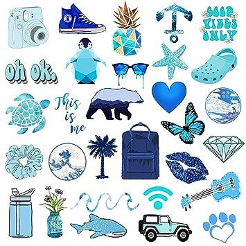 Vsco Stickers For Hydro Flask 50 Pcs Blue Waterproof Water Bottle Stickers For Hydroflasks Laptop Phone Luggage Skateboard Guitar Cute Vinyl