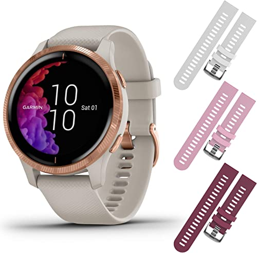 Garmin Venu GPS Smartwatch with AMOLED Display and Included Wearable4U 3 Straps Bundle Light Sand Rose Gold, White Pink Berry
