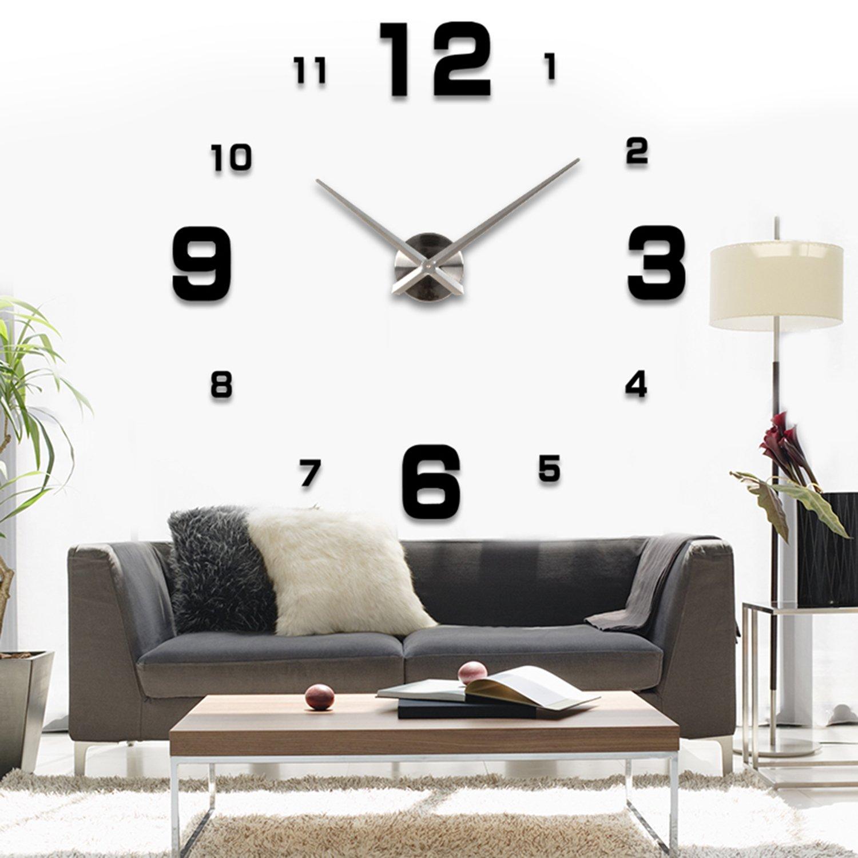 ASIV XXL 3D DIY Moderne Wanduhr, Wohnzimmer Wandtattoo Dekoration Spiegel  Uhr, Schwarze: Amazon.de: Baumarkt