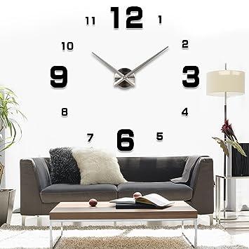 ASIV XXL 3D DIY Moderne Wanduhr Wohnzimmer Wandtattoo Dekoration Spiegel Uhr Schwarze