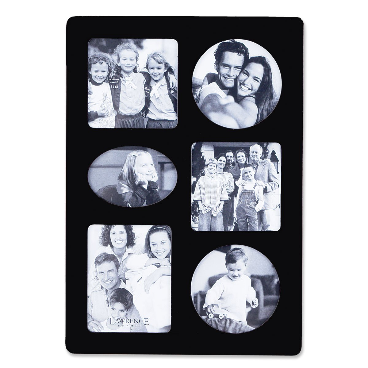 Lawrence Frames Black Wood Multi 6 Opening Picture Frame 834469