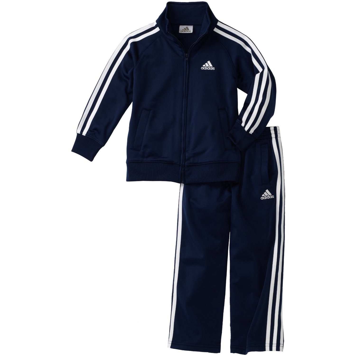 adidas Toddler Boys' Iconic Tricot Jacket and Pant Set, Navy/White, 2T by adidas