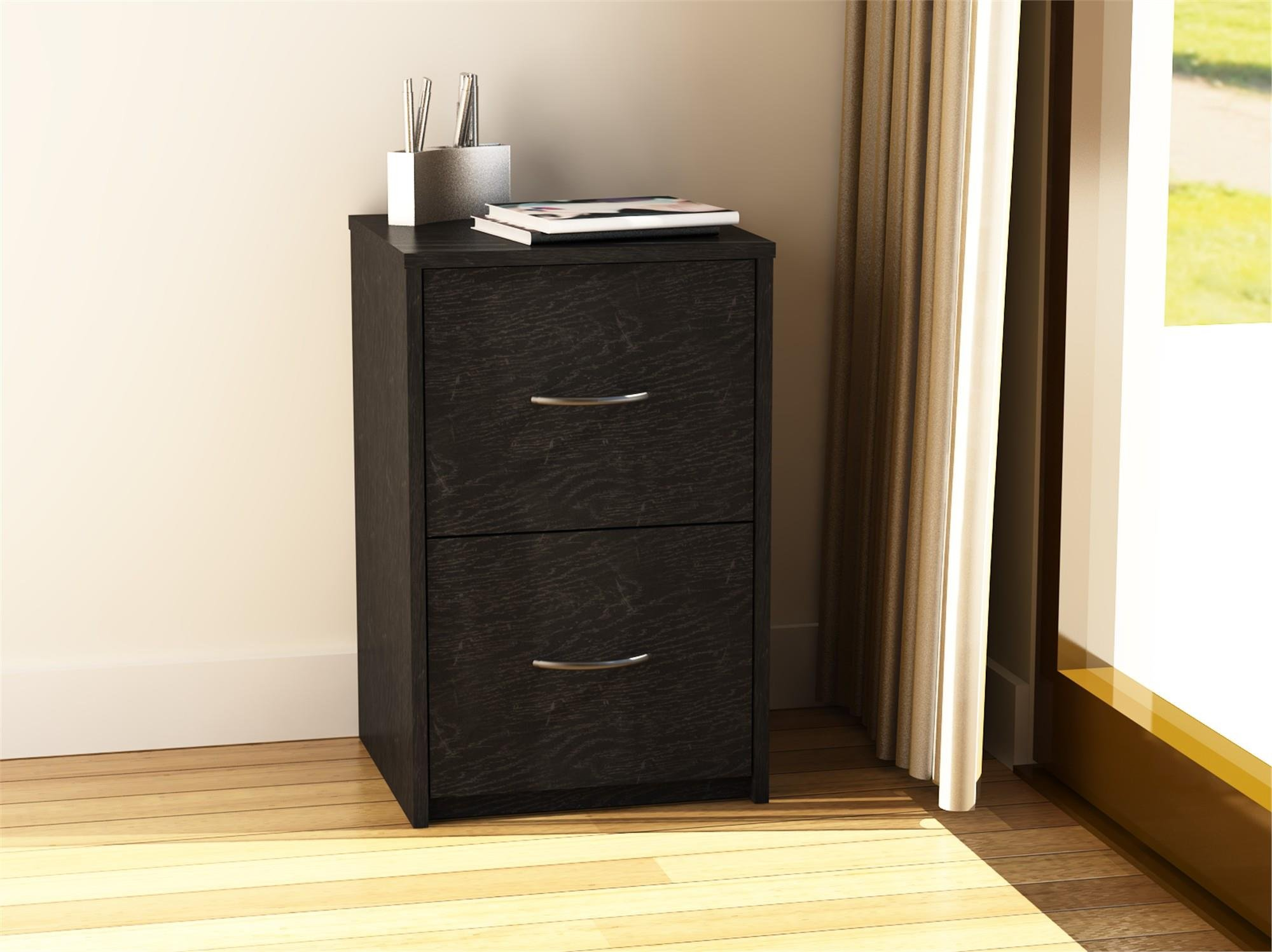 Ameriwood Home Core 2 Drawer File Cabinet, Black Oak