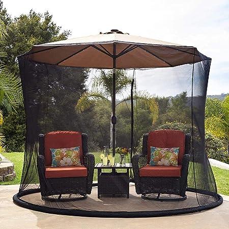 BCXGS Mosquitera de Malla para sombrilla de jardín al Aire Libre, para la Mesa de terraza Sombrilla de jardín Muebles de terraza Jardín Cubierta de Malla con Cierre,275cm x 230cm: Amazon.es: Hogar