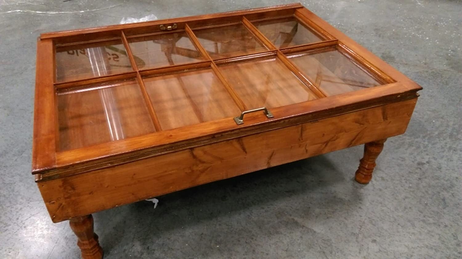 Amazon.com: Beautiful Wood Shadow Box Coffee Table   Window Coffee Table    Display Coffee Table   Storage Coffee Table   Rustic Coffee Table   Vintage  ...