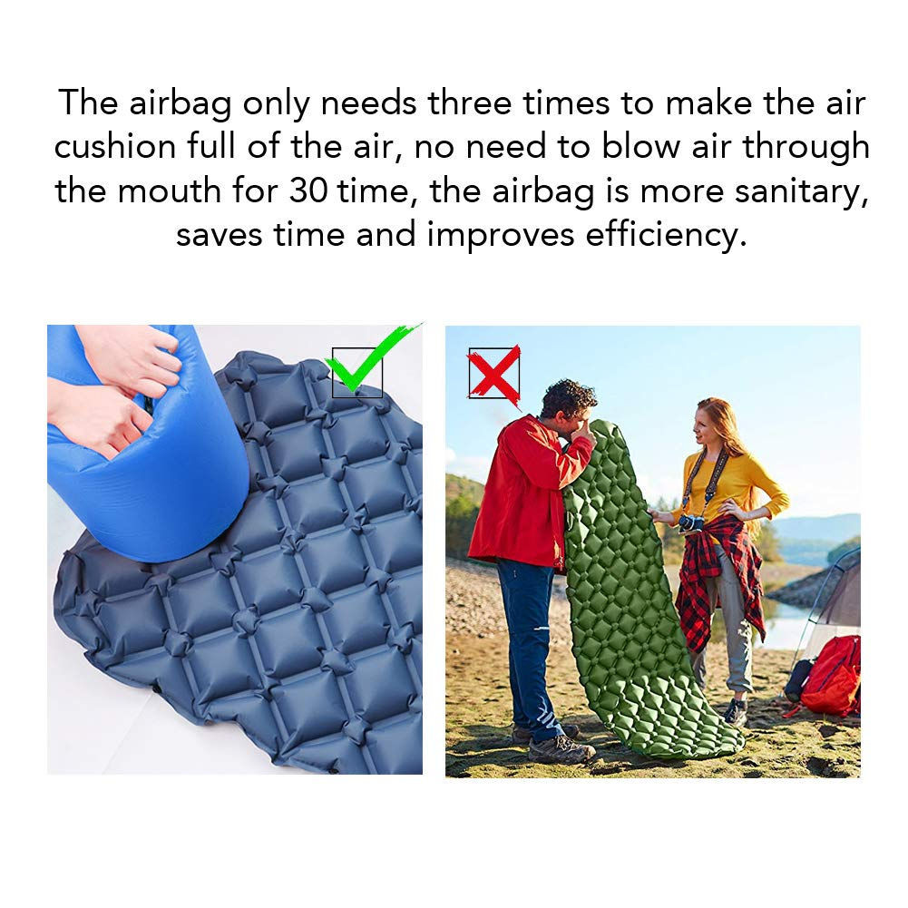 Elgary-US Ultralight Sleeping Pad and Roll Top Air Pump Sack Bag, Inflatable Waterproof Leakproof Compact Air Camping Mat Suitable for Camping, Backpacking, Hiking, Sleeping Bag, Hammock