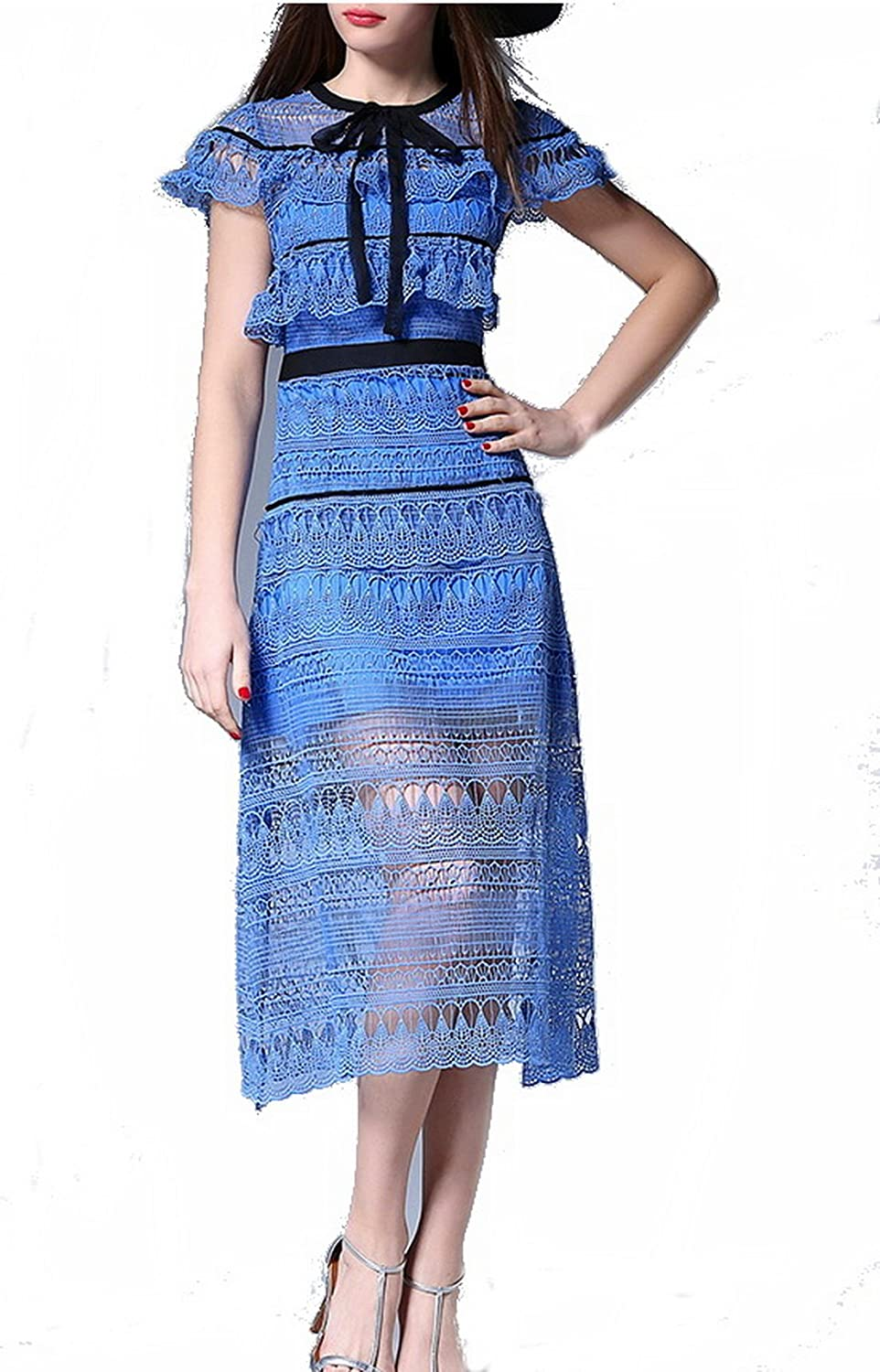Celebritystyle blue embroidered lace Teardrop Midi Dress