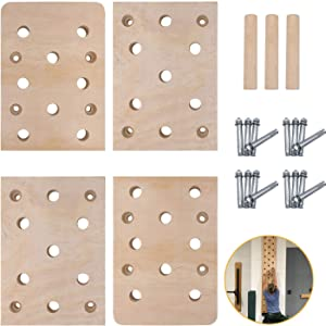 """TRENDBOX Climbing Holds, 12""""x48"""" 23 Holes Climbing Pegboard, Rock Climbing Holds with Durable Climbing Wall Training Ladder, Muscle Trainer for Exercise and Fitness Home Gyms"""
