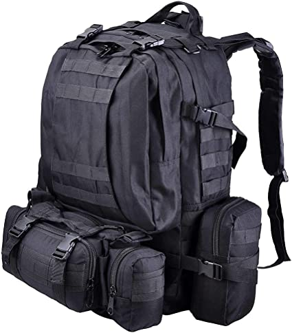 55L Military Tactical Army Backpack Outdoor Rucksack Camping Hiking Trekking