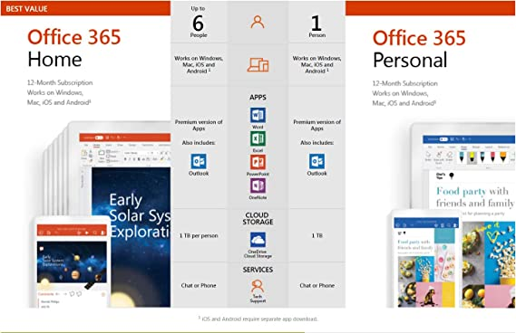 Microsoft Office 365 Personal for 1 Windows/Mac- 1 User, 1 Year (Email  Delivery in 2 hours - No CD)