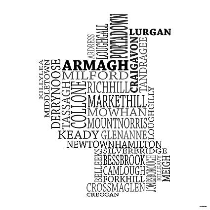 County Armagh Ireland Map.Amazon Com Typographic Map Of County Armagh Ireland 18 X18
