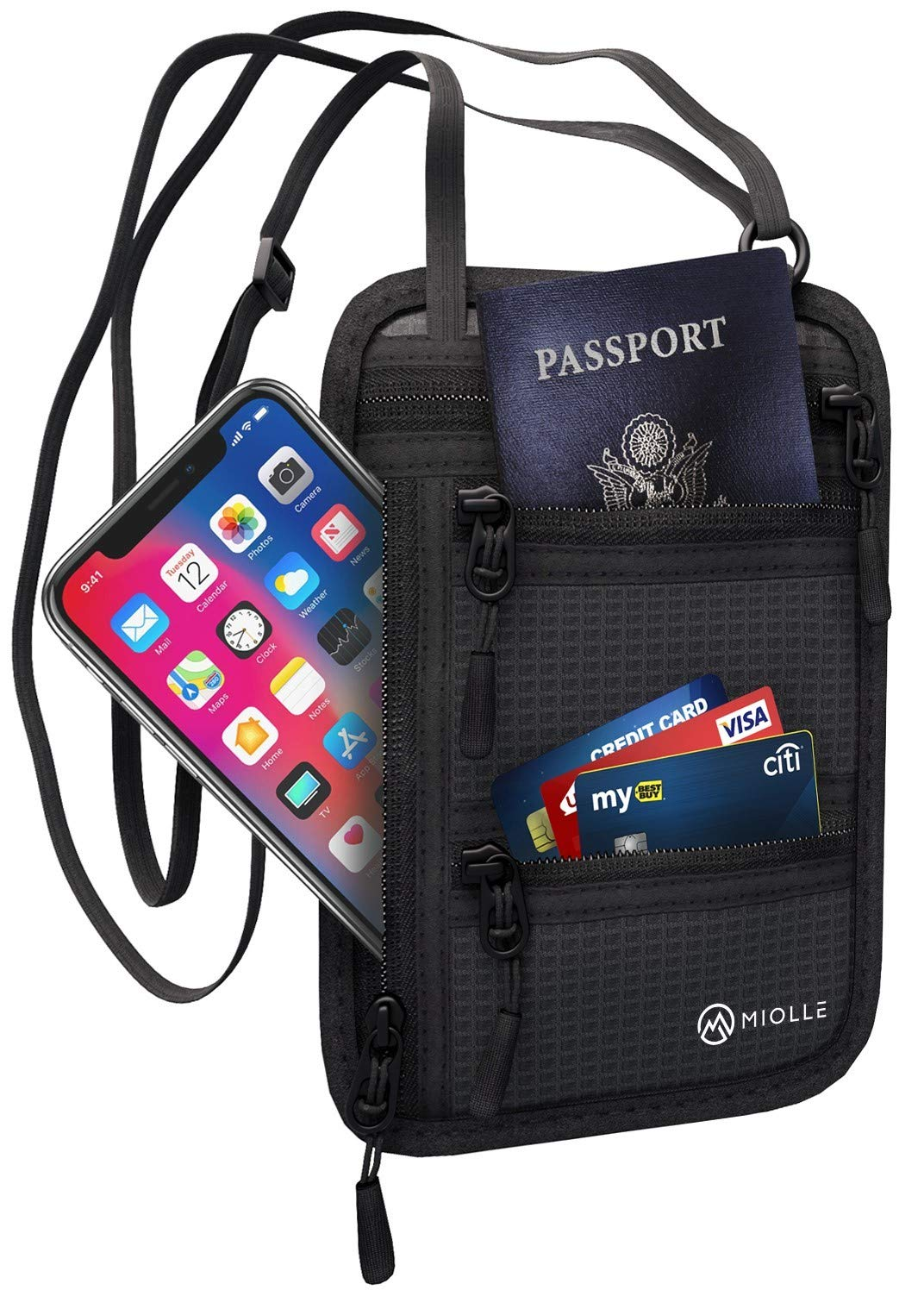 Neck Wallet Passport Holder Neck RFID Blocking Travel Pouch Travel Neck Wallet Travel Document Holder Organizer Anti Theft Security for Men and Women by Miolle