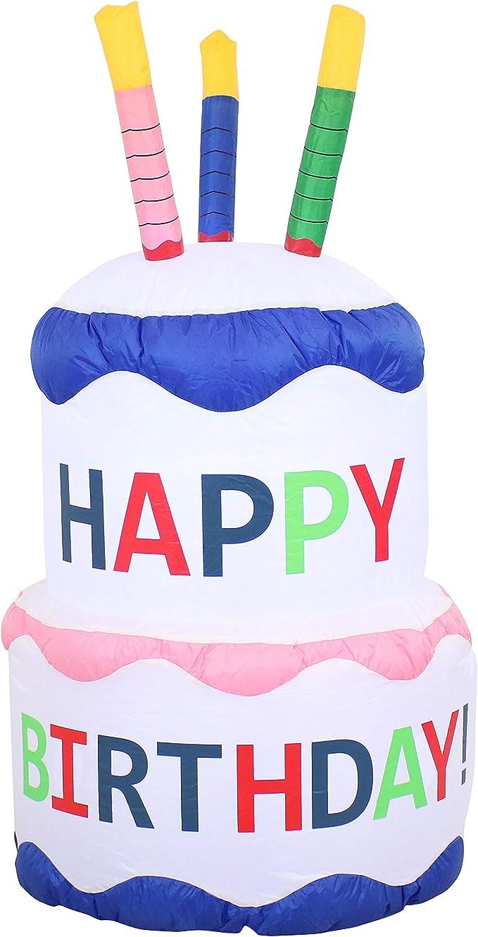 Sunnydaze - Decoración inflable grande para exteriores - Pastel de cumpleaños - 4 pies fiesta fiesta fiesta fiesta decoración de patio y jardín con ventilador ventilador y luces LED