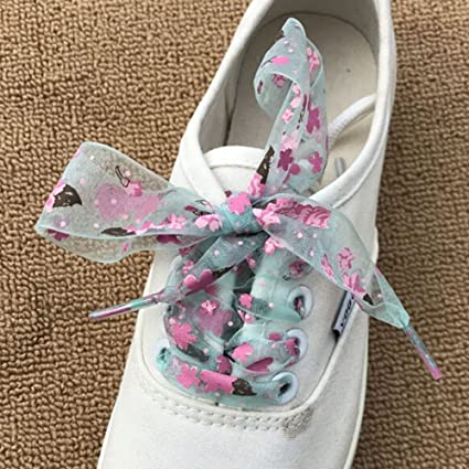 1Pair Snowflake Shoe laces Yarn Flat Satin Ribbon Shoelaces Lace Strings d