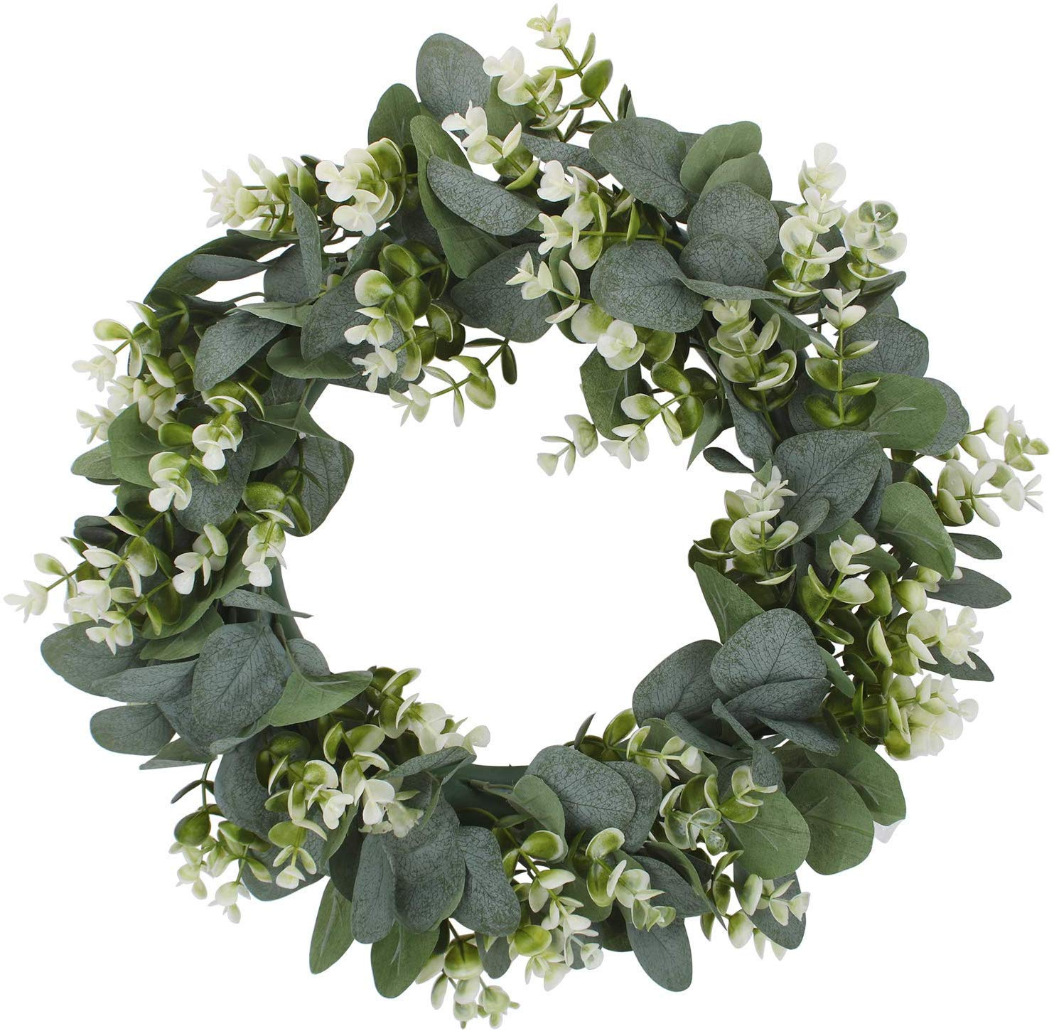 "PARTYLAB Artificial 17"" Eucalyptus Wreath Floral Garland for Summer Fall & Spring Good for Porch Farmhouse Patio Garden Perfect Flower Decoration for Home Front Door Wall Decor Indoors & Outdoor"