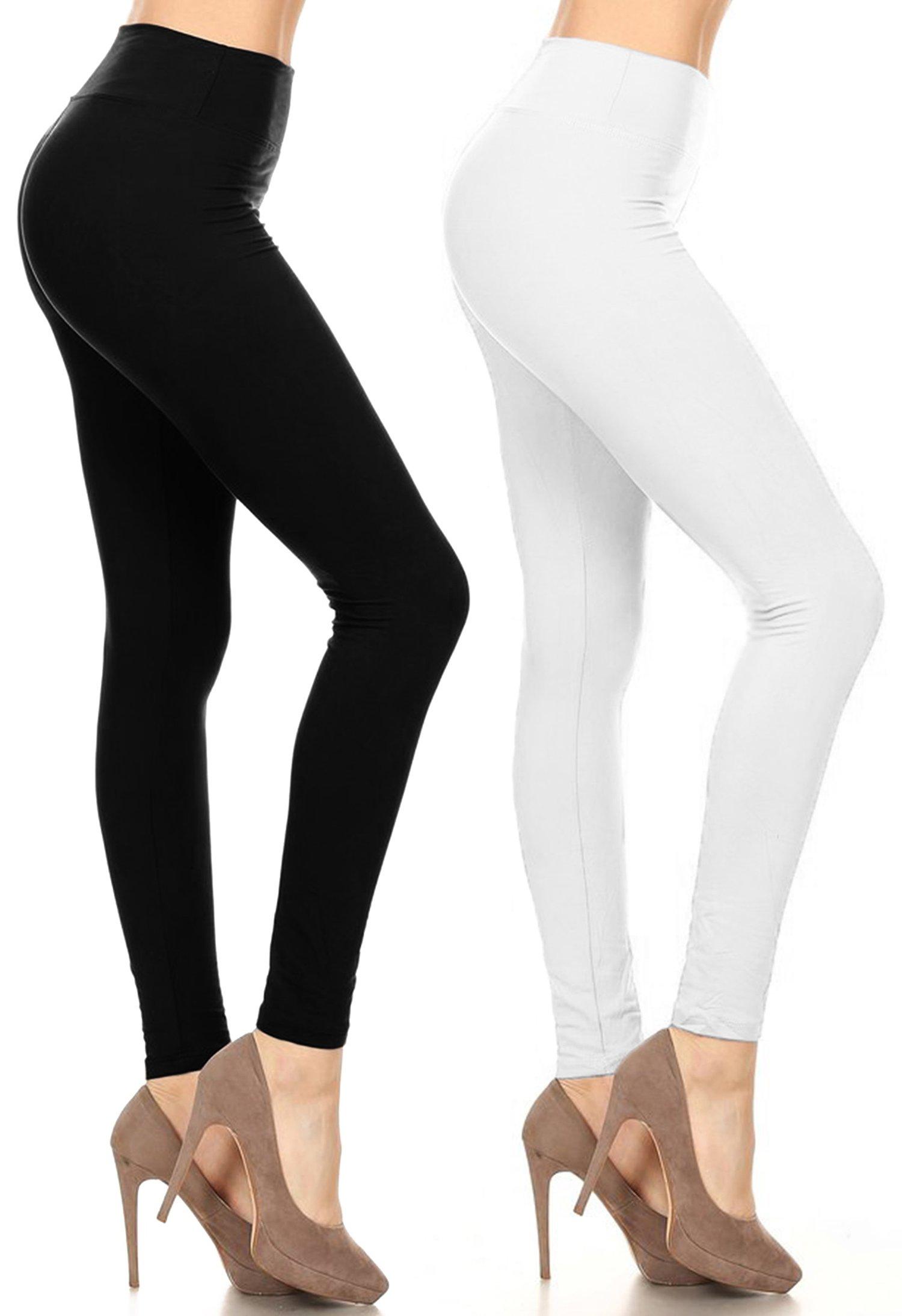 Leggings Mania Women's 2-PK Solid Leggings with Wide Yoga Waistband Black White