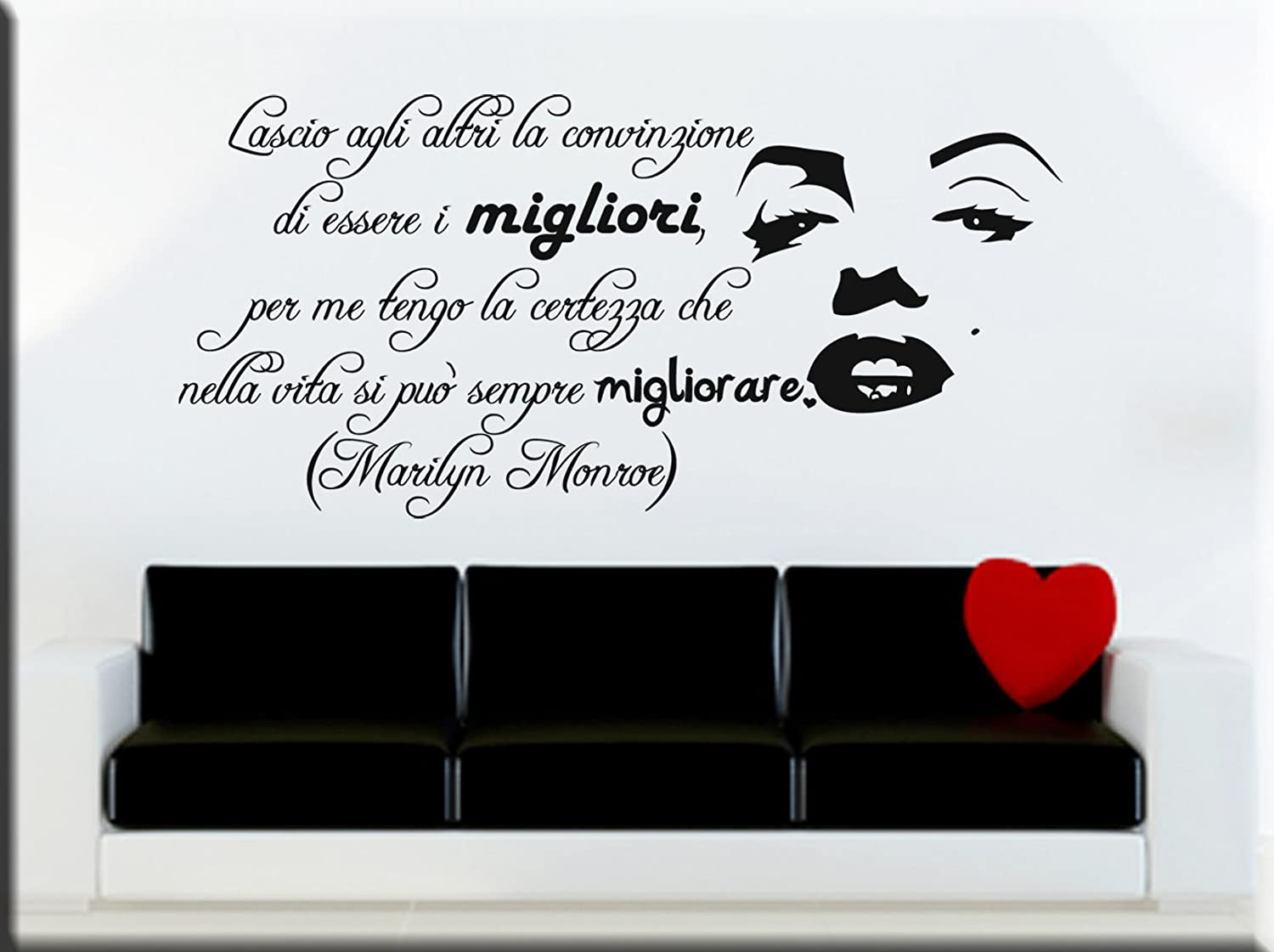WALL STICKERS ADESIVI MURALI FRASI MARILYN MONROE: Amazon.it: Handmade