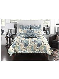 mk collection 3pc bedspread coverlet floral modern blue beige queen