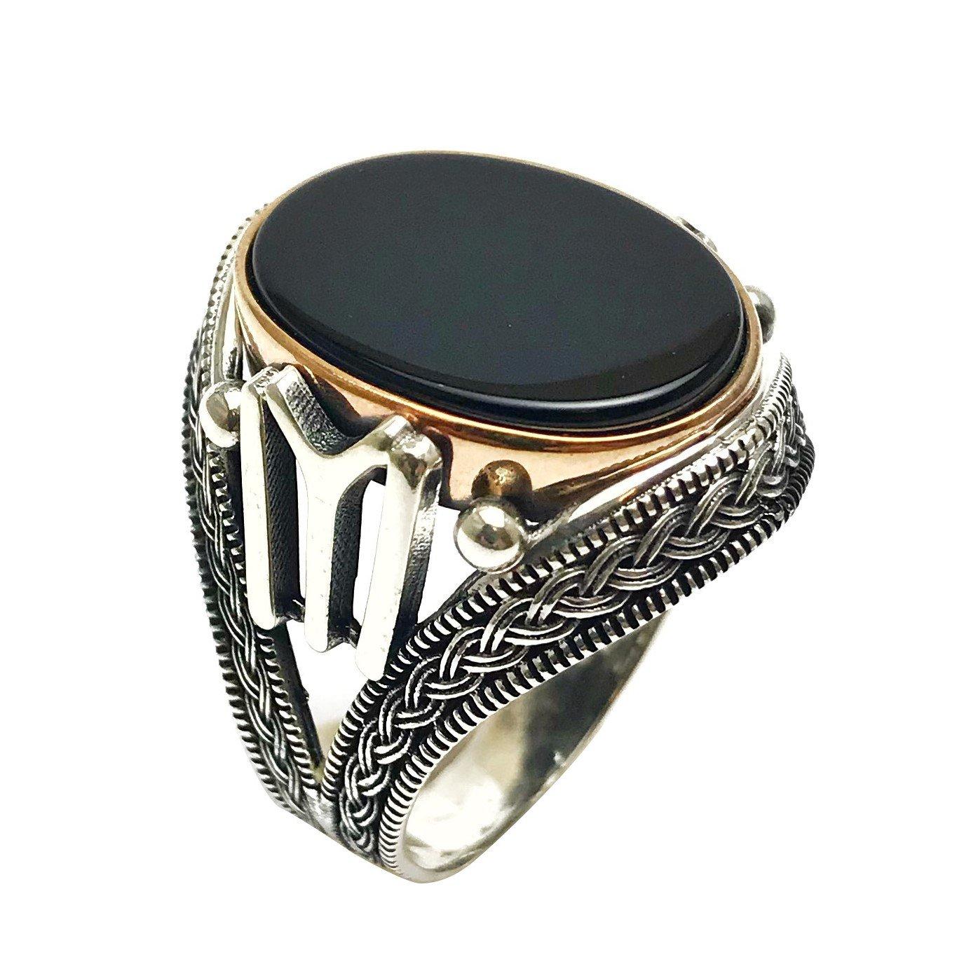 argunjewellery Turkish Jewelry Ertugrul Kayı IYI Dirilis Onyx 925K Sterling Silver Men's Ring