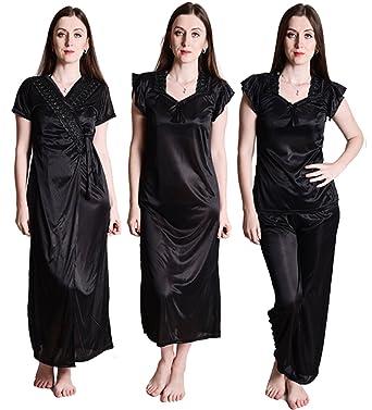 Senslife Satin Purple Nightwear Sleepwear Solid 6pc Set of Nighty 6c8d7c729