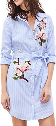 Zojuyozio Oficina Belted Vestido De Camisa Rayas Bordado Mujer Blusas Vestidos: Amazon.es: Ropa y accesorios