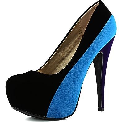 6d4a0c742401 Qupid Women s Penelope-44x Black Velvet Platform Shoes