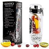 Opard Fruit Infused Drinking Bottles 1 Litre Sports Flip-Top Lid Tritan 100% BPA Free Fruit Infuser Water Bottles with Detachable Ice Gel Ball & Time Markings