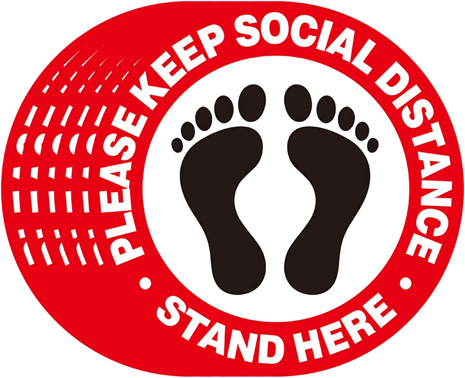Social Distancing Floor Decals- 12 Pack Stand Decals - Stand Here Sign 8 inch Safety Distance Sticker Markers