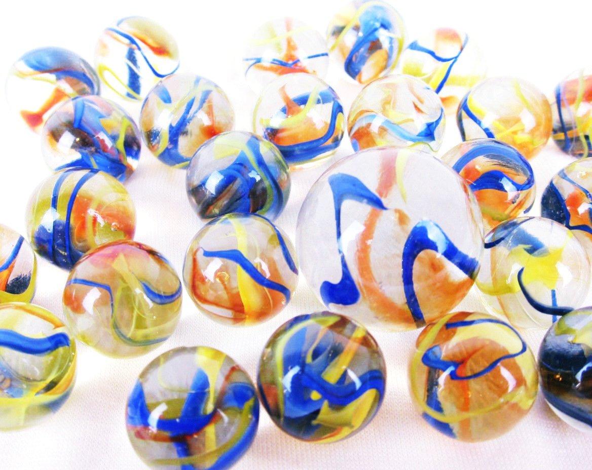 25ガラスフィエスタMarbles Game Pack VTGスタイルクリア紙吹雪リボンShooter Swirl For Ages 5 + B07B9TLXZF