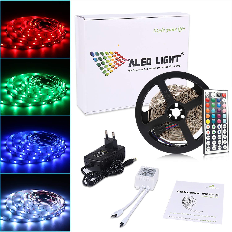 ALED LIGHT ® Tiras Led 5050 RGB 5m de Longitud 150 Led Multicolor Control Remoto de 44 Botones y Fuente de Alimentación [Clase de Eficiencia Energética A]