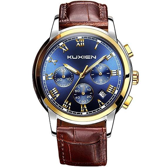 Reloj, relojes, hombre reloj kuxien Hombres Analógico de Cuarzo Reloj de pulsera multifunción resistente al agua clásico Business Hombre Acero Inoxidable ...