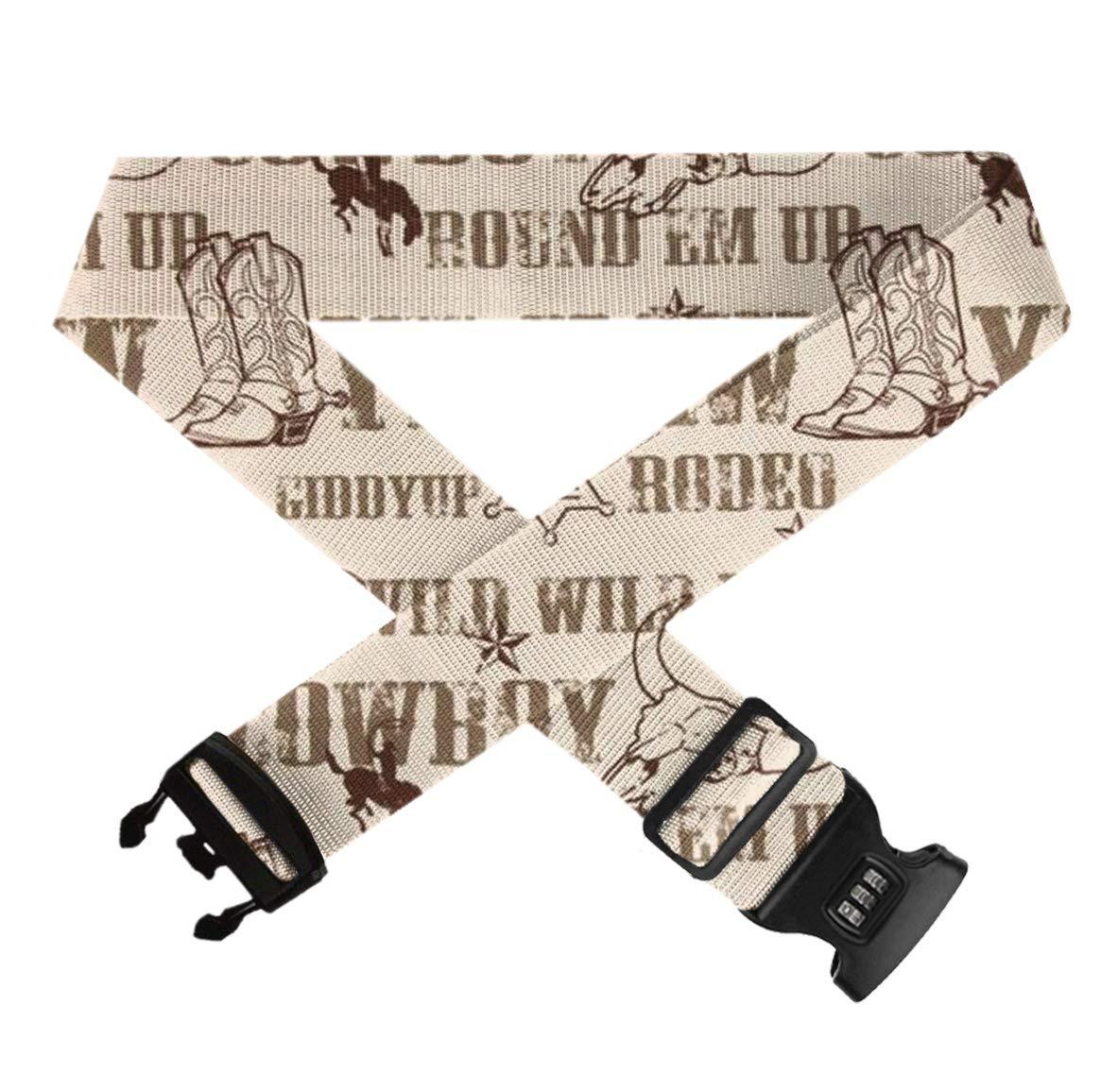 Adjustable Length Elastic Baggage Suitcase Straps Belts Premium Neoprene Baggage Suitcase Straps Belts Travel Suitcase Belt With 3-Dial Lock Cowboy Culture