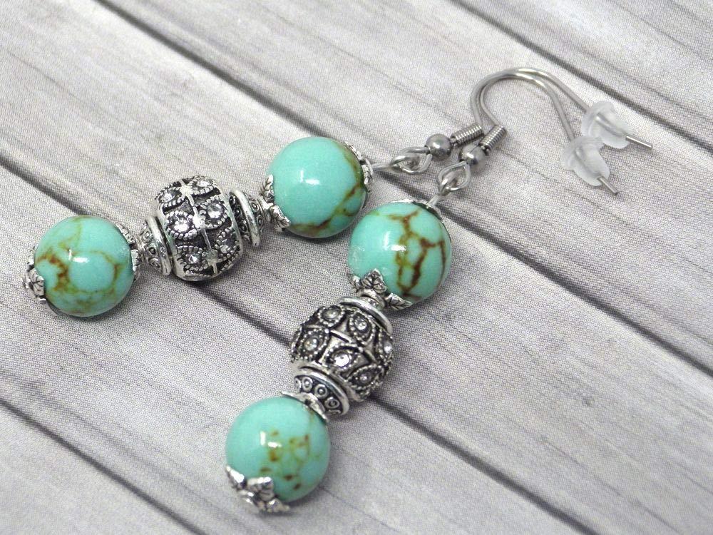 orecchini in acciaio inox con perle di turchese ricostituito blu e perline con cristalli