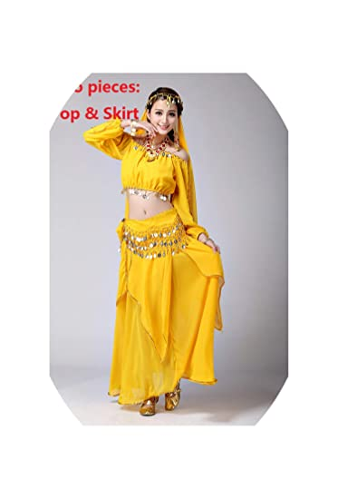 Amazon.com: Indian Costume for Bellydance Traje Dresses Gold ...