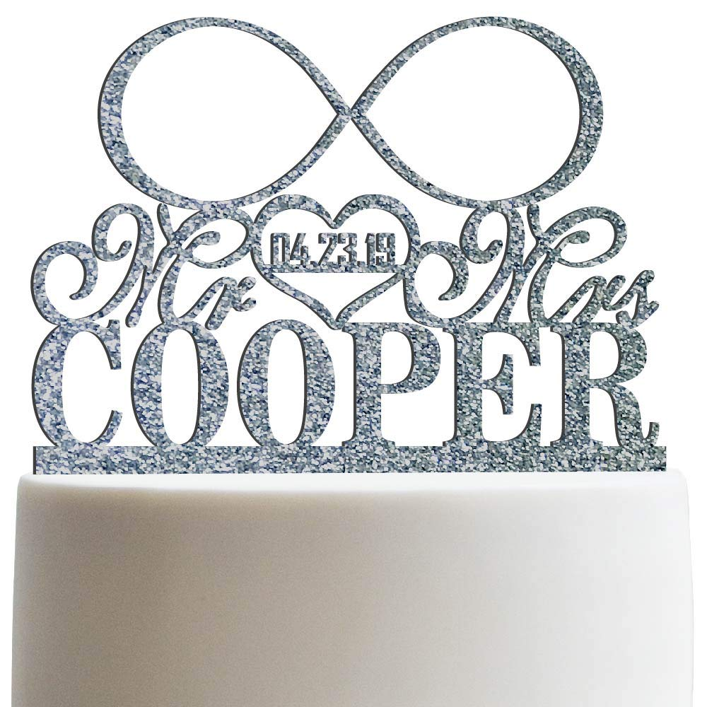 Personalized Infinity Symbol Mr & Mrs Wedding Cake Topper Customized Last Name To Be Cake topper | Glitter Cake Toppers by Sugar Yeti (Image #1)