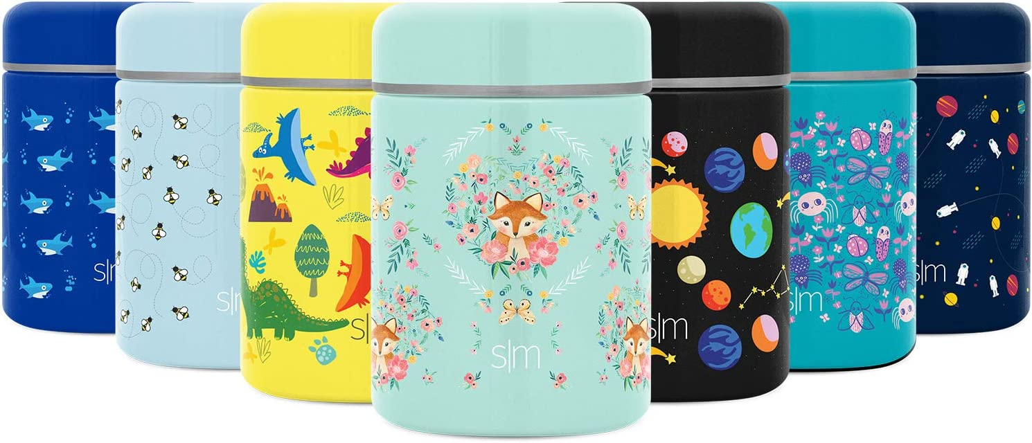 Simple Modern Provision Insulated Food Jar Thermos Leak Proof Stainless Steel Storage Lunch Container, 12oz Lid, Kids: Fox and the Flower