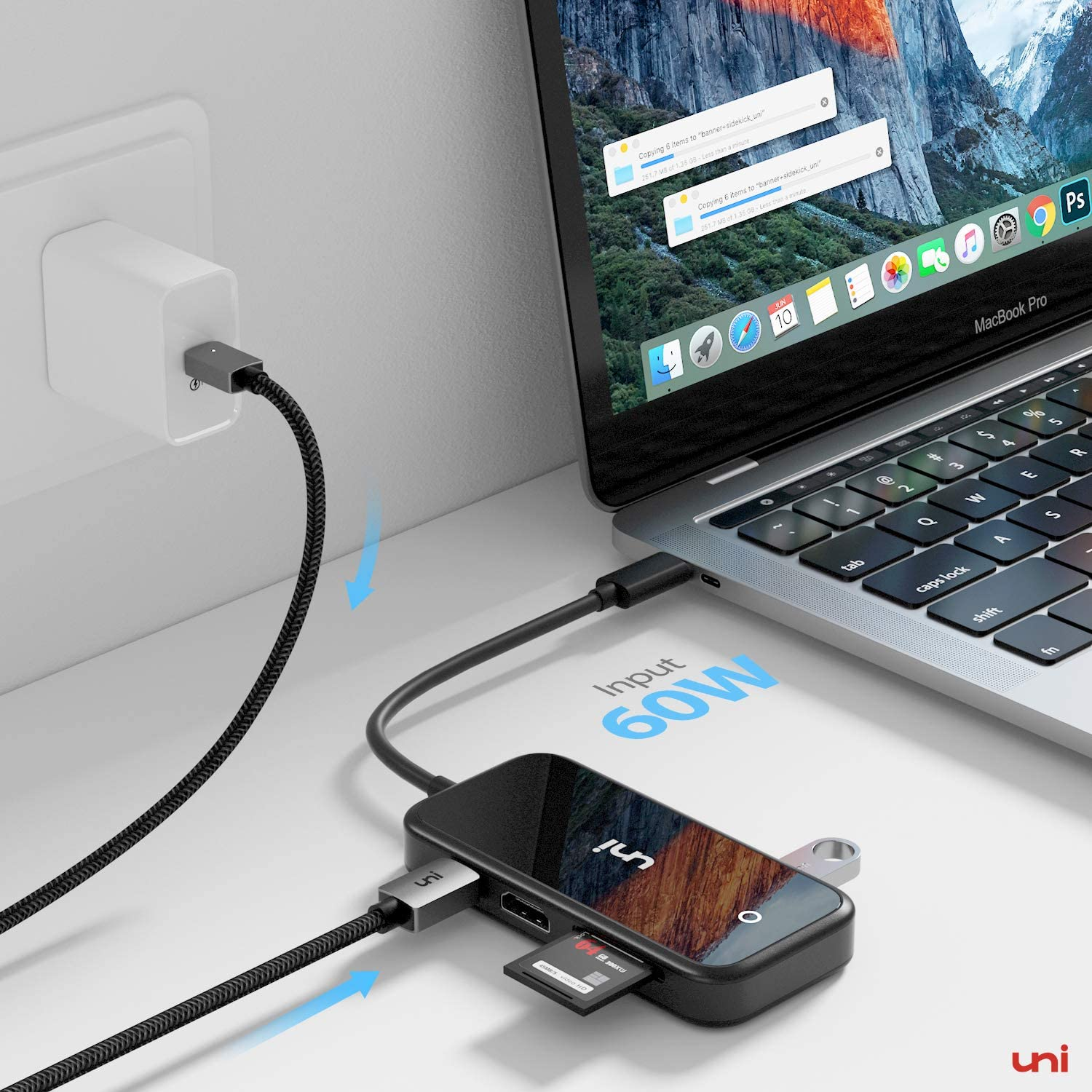 iPad Pro 2018 uni Type-C Multiport Adapter with Enhanced Shielding Black 4K Compatible for iPad Air 2020 USB-C Hub 7 in 1 SD//MicroSD USB 3.0 MacBook Pro Chromebook and More Surface Pro 7