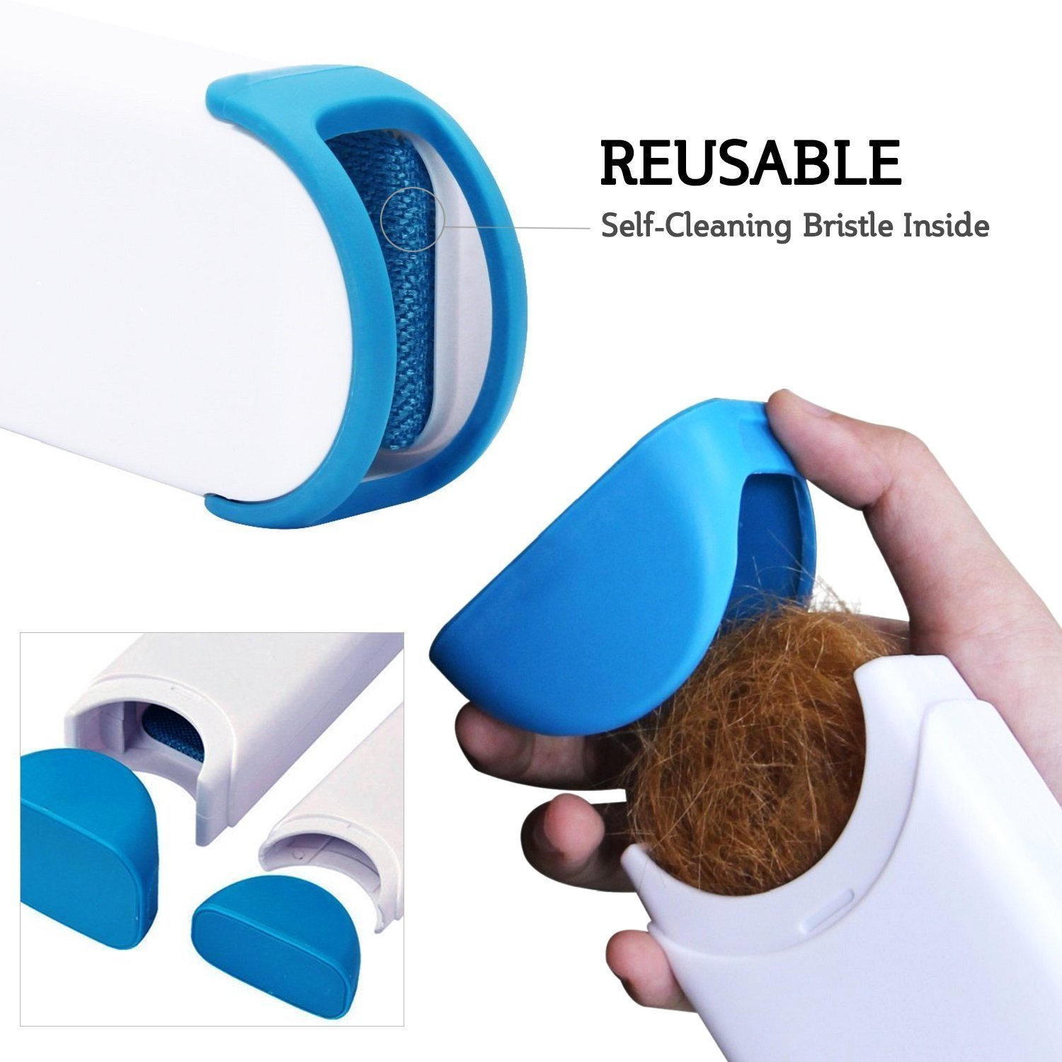 Pet Fur & Lint Remover with Self-Cleaning Base, Furniture, Clothes, Carpets and Car Seats, and Is A Reusable Remover for Cat and Dog Hair, Fur, Wool and Leather Wool.