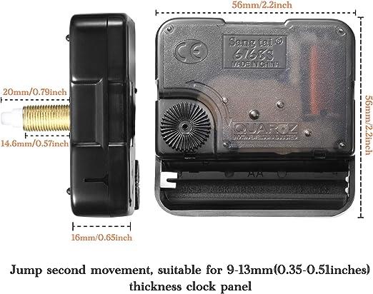 mit Haken und Paster 10 St/ücke Hoch Drehmoment Lange Welle Uhrwerk Mechanismus f/ür DIY Uhr Ersatzteile Ersatz 20 mm// 0,78 Zoll