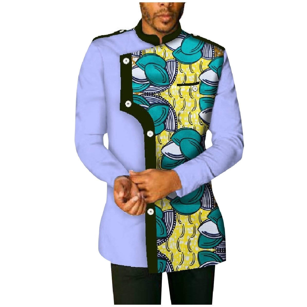 YUNY Mens Plus-Size Cotton African Printed Long-Sleeve Western Shirt Green 4XL