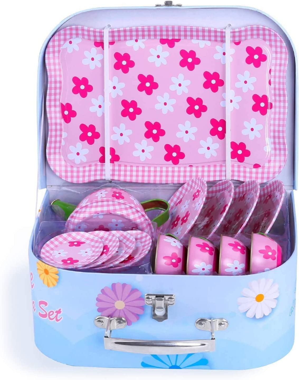 Tray and A Pink Flower Carry Case Noetoy Tea Party Set for Little Girls Tea Cups Plates /& Saucers Toy Pretend Play Kitchen Metal Tea Set 15 Pieces Including Play Tea Pot