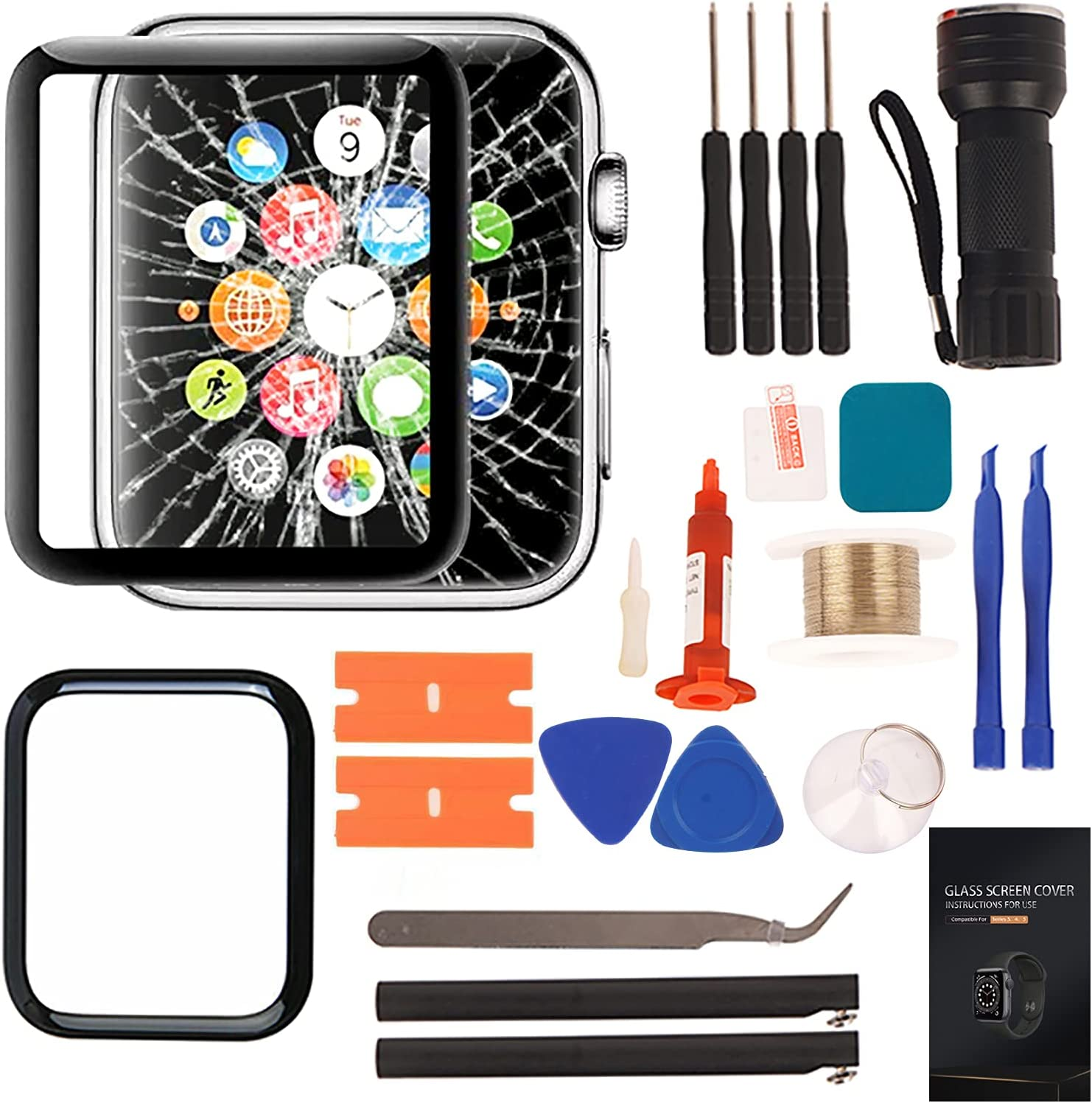 Compatible with Apple Watch 3 Screen Replacement - Front LED Glass Lens Replacement Watch Screen Repair Kit & Compatible with Apple Watch Glass Replacement 42mm (Series 3 42mm)