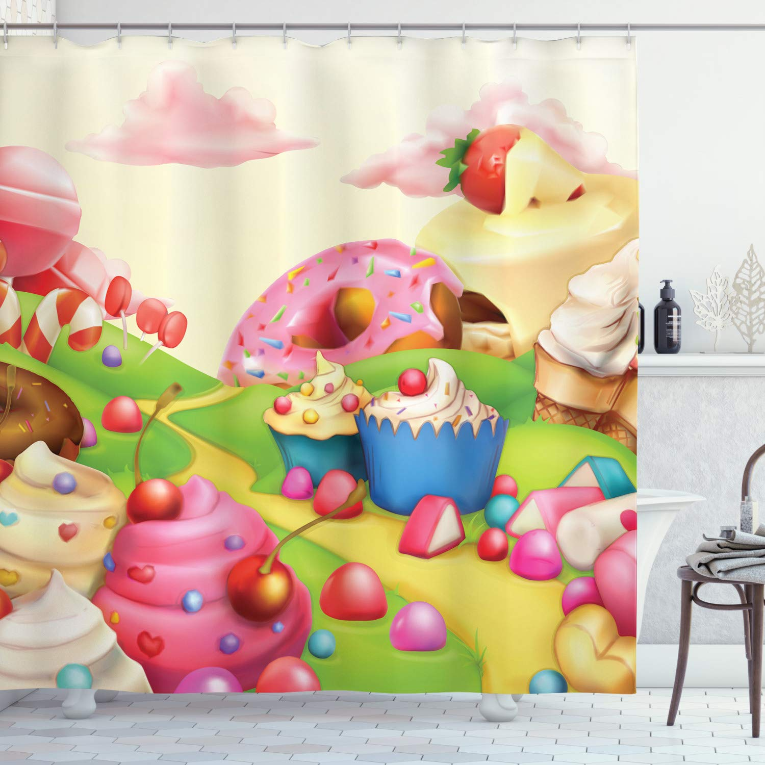 Ambesonne Modern Shower Curtain, Yummy Donuts Land Cupcakes Ice Cream Cotton Candy Clouds Kids Nursery Design, Cloth Fabric Bathroom Decor Set with Hooks, 84'' Extra Long, Cream Pink by Ambesonne
