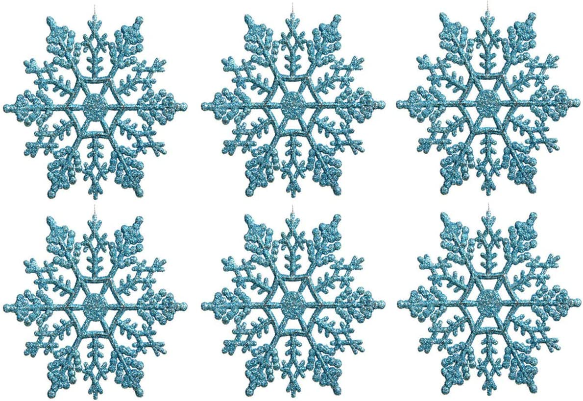 Sea Star Turquoise Plastic Snowflake Ornaments 24pcs Tiny Sparkling Iridescent Glitter Snowflake Ornaments on String Hanger for Decorating,Chirstmass Tree,Crafting and Embellishing (3inch, Turquoise)