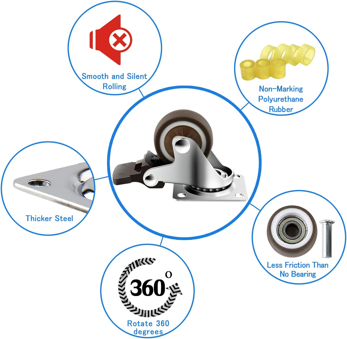 Pack of 4 250 Lbs Per Caster 3 Swivel Caster Wheels with Safety Dual Locking and Polyurethane Foam No Noise Wheels Heavy Duty