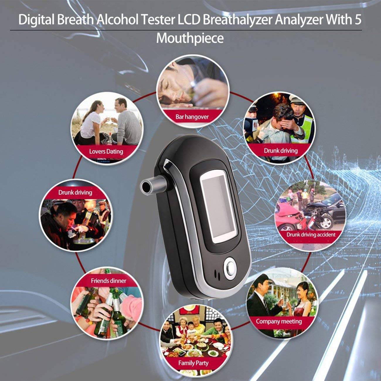 Fannty Breathalyzer,Portable Keychain Breath Alcohol Tester Compatible for Driver,Highly-Accurate Result Digital Battery Power with 10 Mini Mouthpieces
