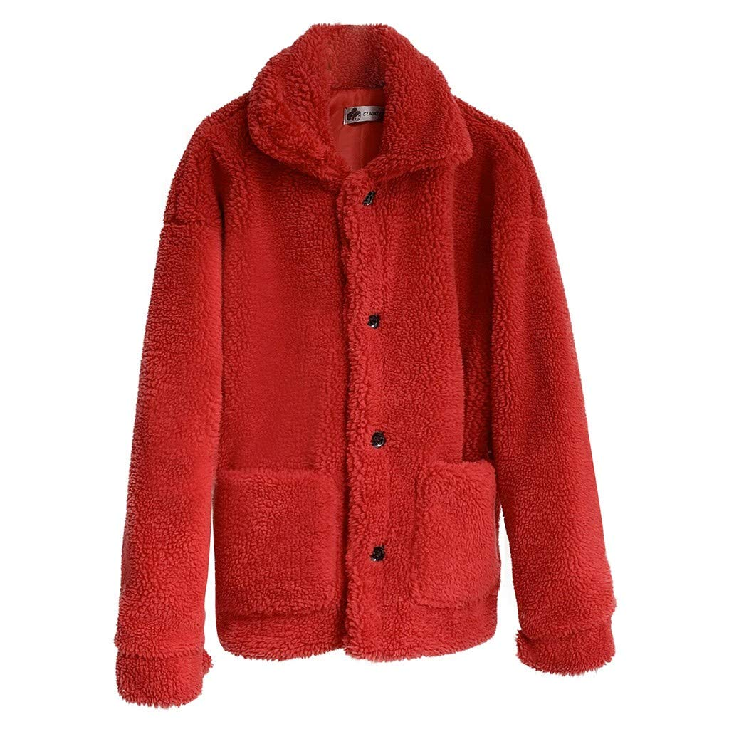 〓COOlCCI〓Women's Fashion Long Sleeve Lapel Faux Shearling Shaggy Coat Jacket with Pockets Warm Winter Fur & Faux Fur Red