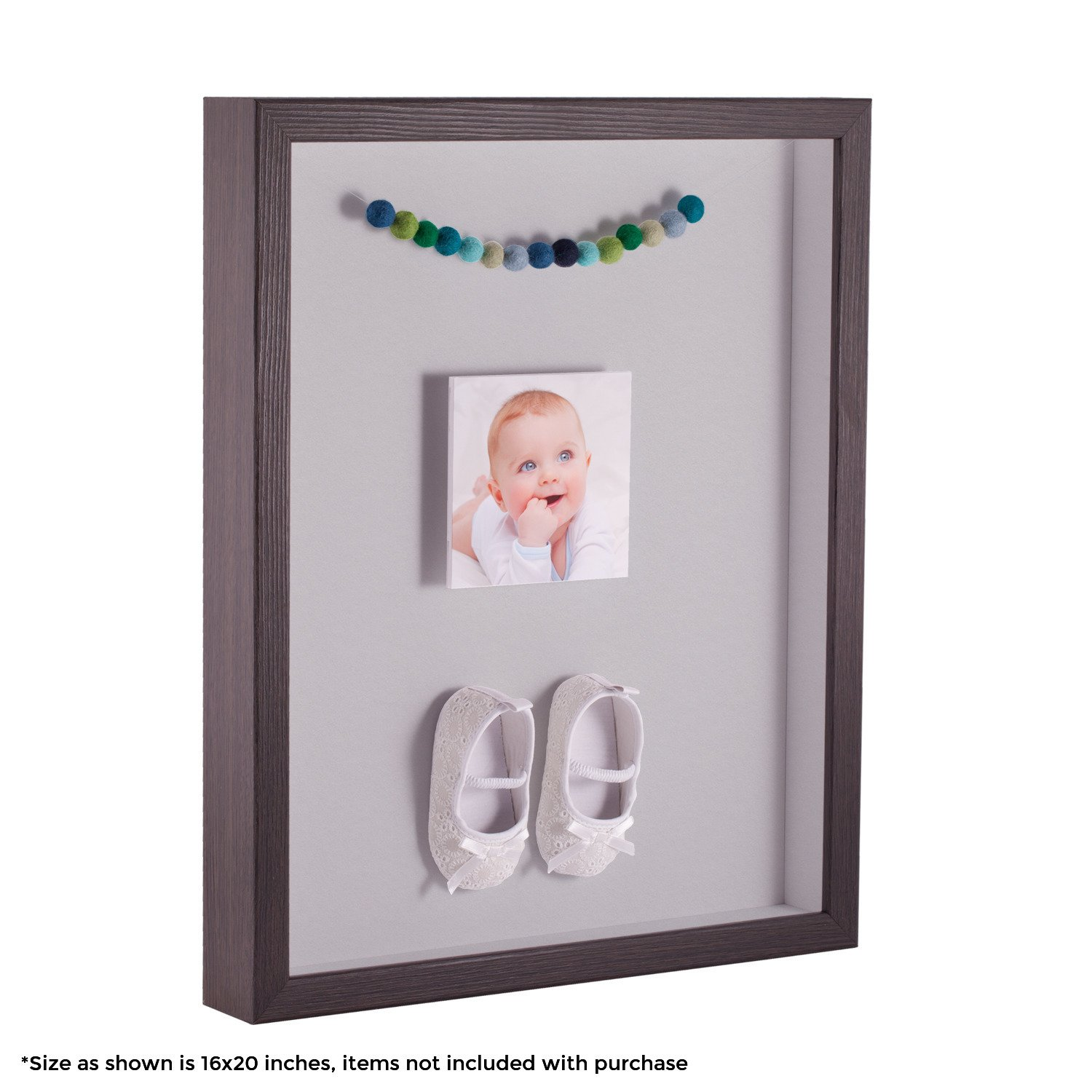 ArtToFrames 18 x 24 Inch Shadow Box Picture Frame, with a Melinga Oak Gray 1'' Shadowbox Frame and Candlewick Mat