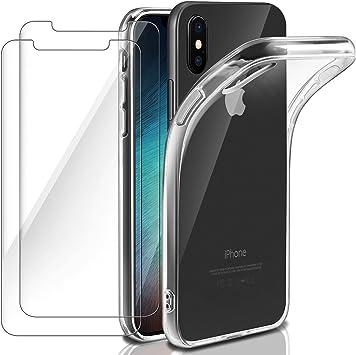 Leathlux Funda + 2X Cristal para iPhone X, Carcasa iPhone 10 Transparente TPU Silicona [Funda +