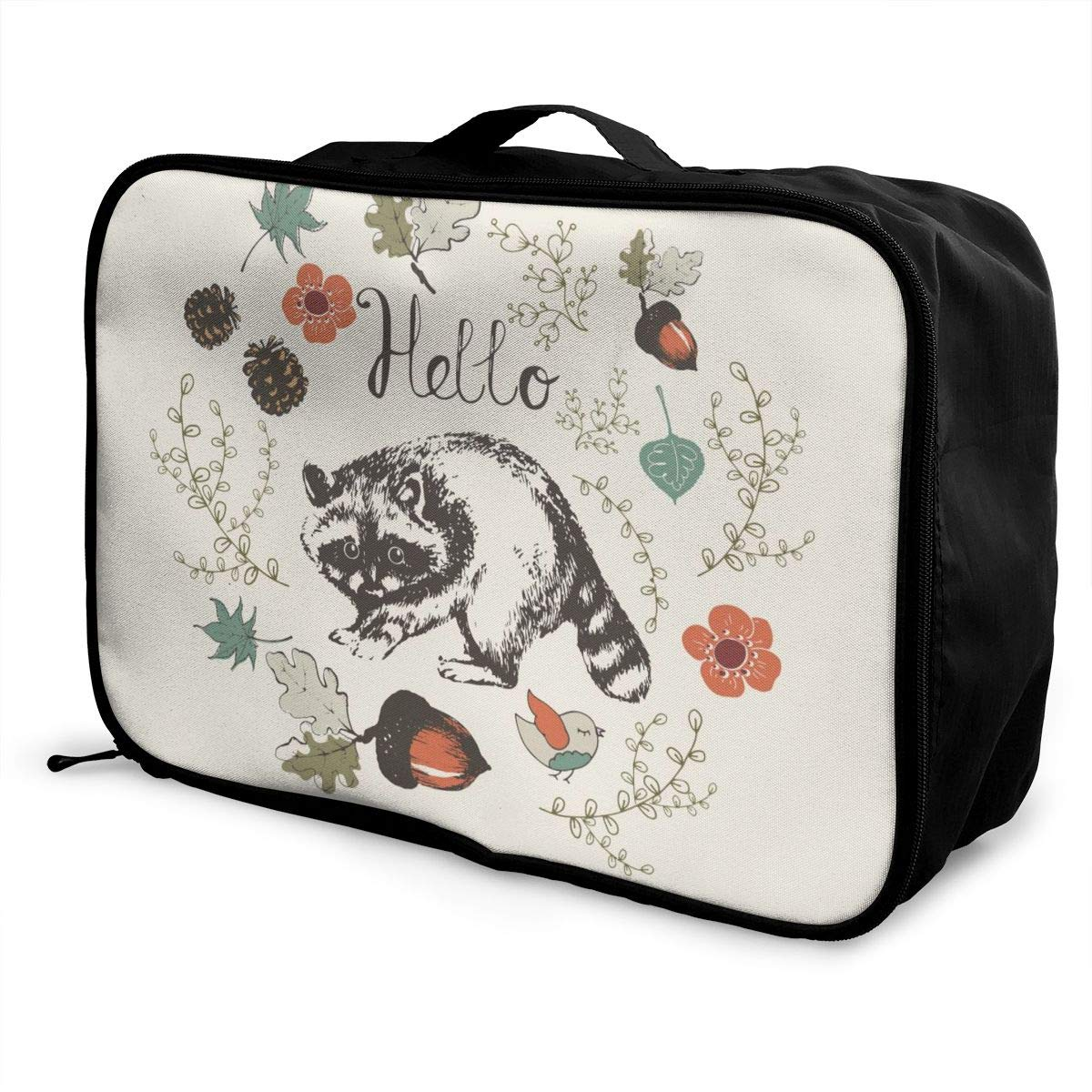 Hello Raccoon And Nuts Travel Lightweight Waterproof Folding Storage Portable Luggage Duffle Tote Bag Large Capacity In Trolley Handle Bags 6x11x15 Inch